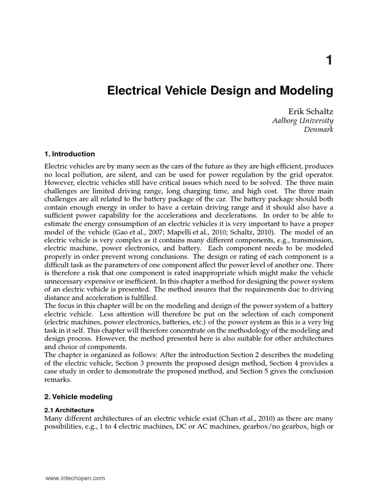 Electric Vehicle Modelling And Simulation Torque Control In Propulsion Systems Intechopen Battery Electricity