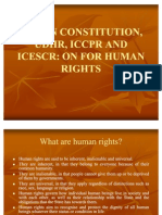 INDIAN CONSTITUTION, UDHR, ICCPR AND ICESCR