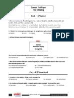Sample Test Paper Std 6 Moving