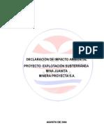 Declaracion Impacto Ambeintal Mina Juanita