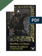 De Quincey Thomas - Klosterheim O La Mascara
