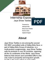 Textile Internship Exposure Jaya Shree Textiles Aditya Birla