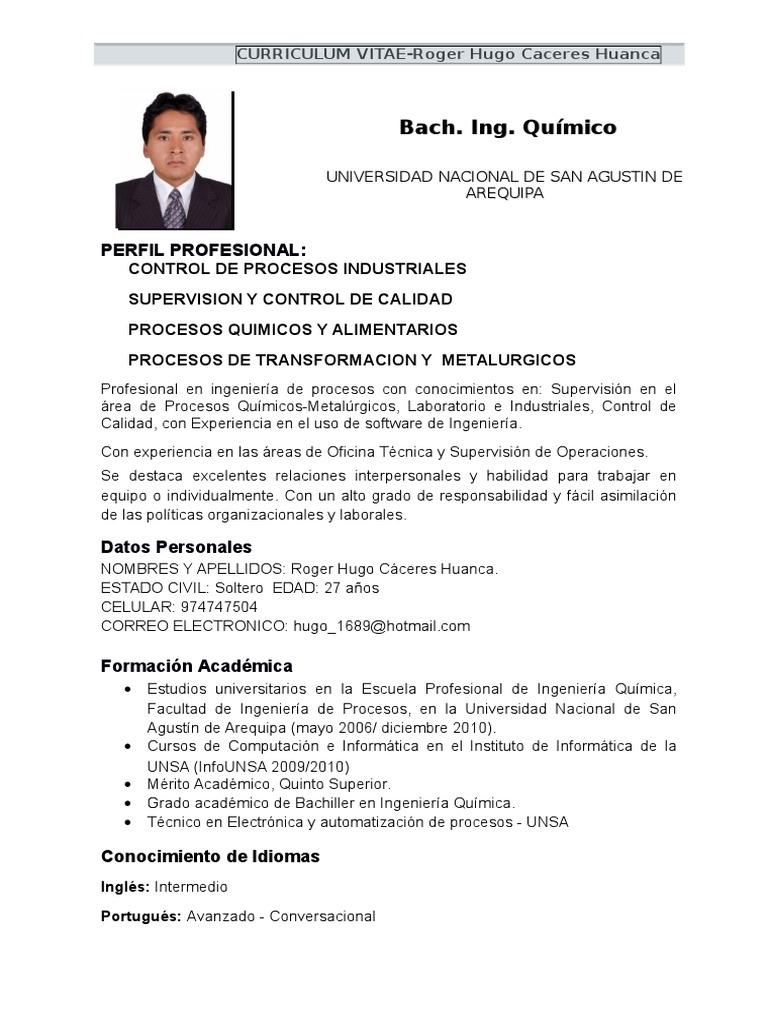 Lujoso Curriculum Formato Pdf Para Estudiantes De Ingeniería ...