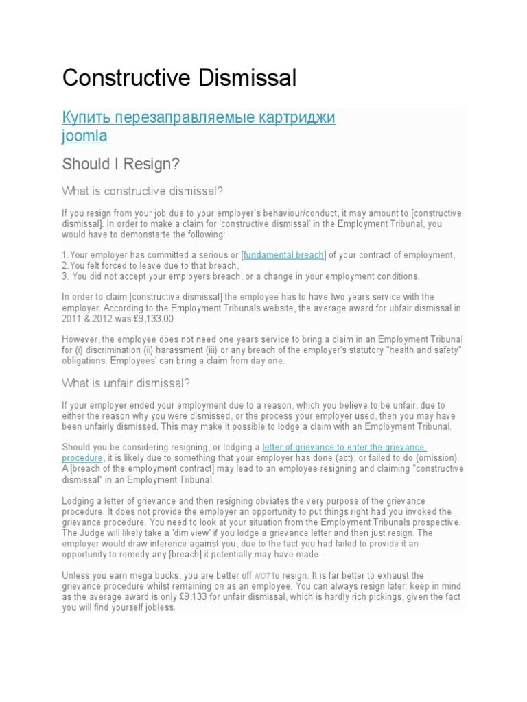 Constructive Dismissal | Employment | Labour Law