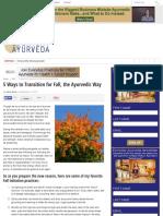 5 Ways to Transition for Fall, the Ayurvedic Way - Ayurveda | Everyday Ayurveda