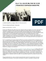 La Iglesia Española y El Golpe Militar de 18 de Julio Del 36, Por Francisco Espinosa Maestre