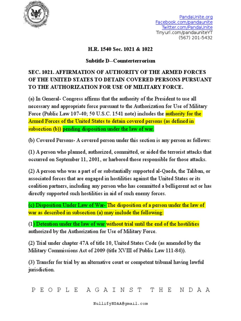 Full text of section 1021 of the 2012 NDAA | Detention ...