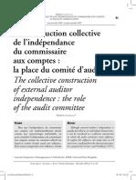La Construction Collective de l'Indèpendance Du Commissaire Aux Comptes