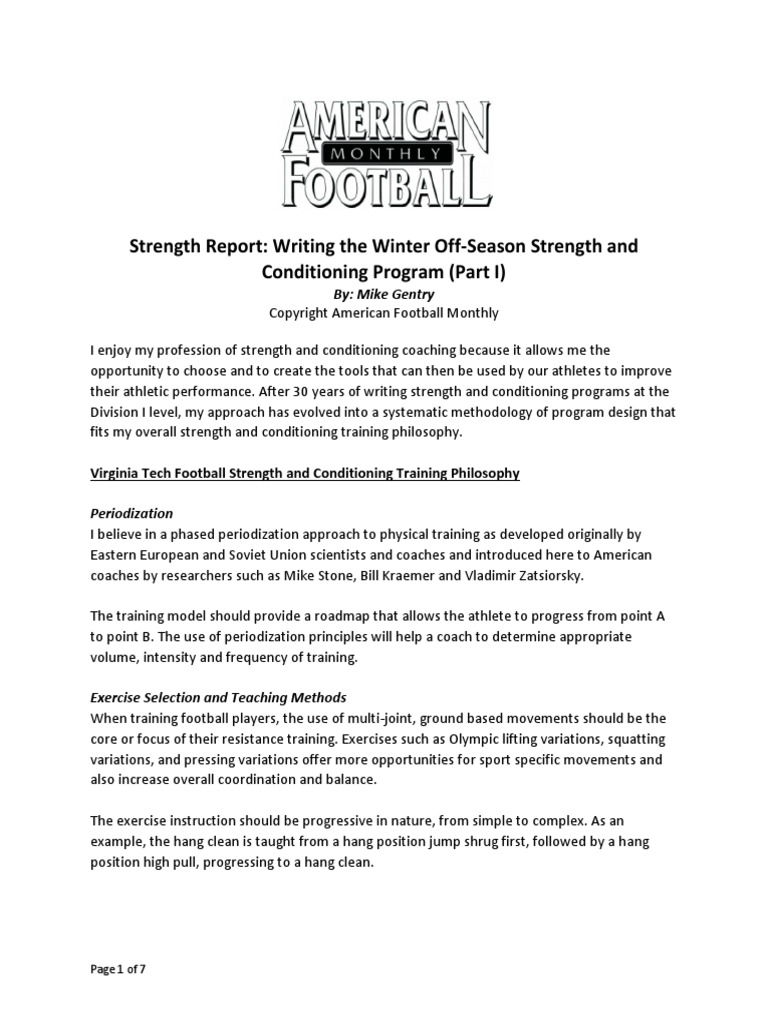football strength and conditioning programs