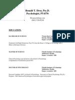 Dr. Ron Droz - Cirriculum Vitae