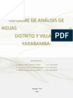 Informe Analisis de Aguas Para Consumo Human Ode Yarabamba, Arequipa, Peru