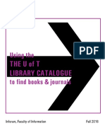 Using the u of t Library Catalogue to Find Books and Journals 2016 Fall