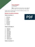 Ejemplo de Palabras Polisílabas