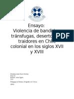 Ensayo Violencia de Bandidos, Tr{Ansfugas, Desertores y Traidores en Chile Colonial en Los Siglos XVII y XVIII