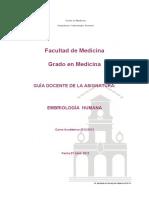 Guia Docente Embriologia Humana 1 Curso 2012-13