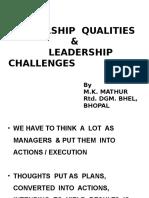 Leadership Qualities & Leadership Challenges