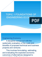 Topic 1 Foundations of Engineering Economy