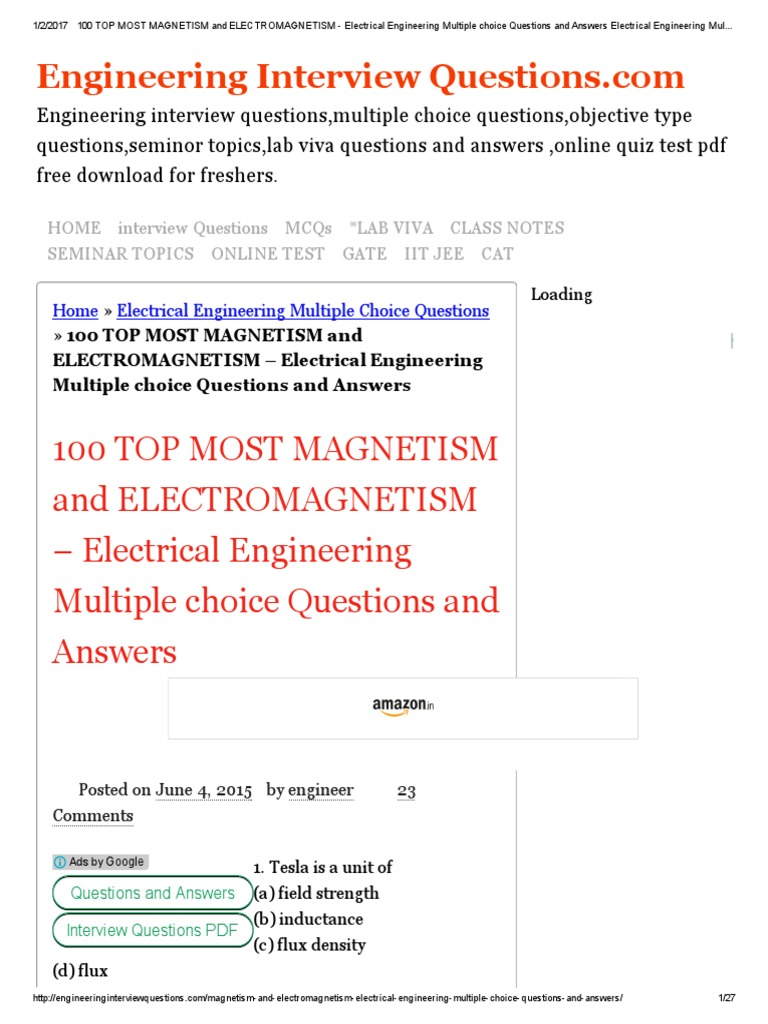 top most magnetism and electromagnetism electrical 100 top most magnetism and electromagnetism electrical engineering multiple choice questions and answers electrical engineering multiple choice