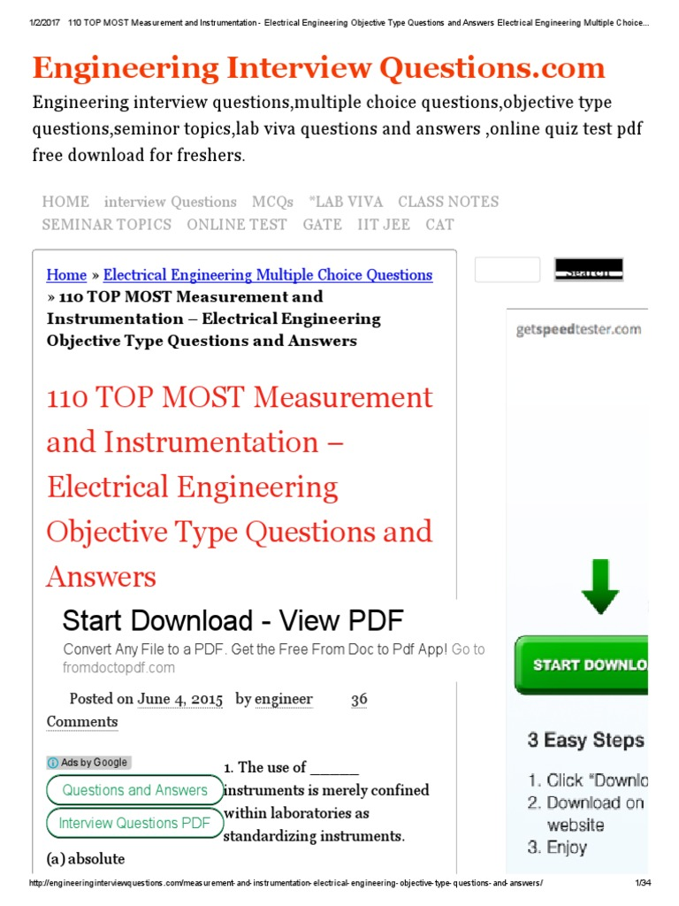 110 TOP MOST Measurement and Instrumentation - Electrical