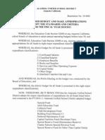 Final Adoption of the AUSD 2010/11 Budget
