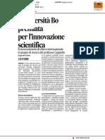 L'Università Carlo Bo premiata per l'innovazione scientifica - Il Corriere Adriatico del 6 gennaio 2017