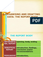 9. Organising and Drafting Data-The Report Body