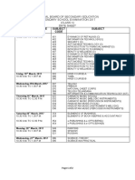 Date Sheet of Class X - 2017