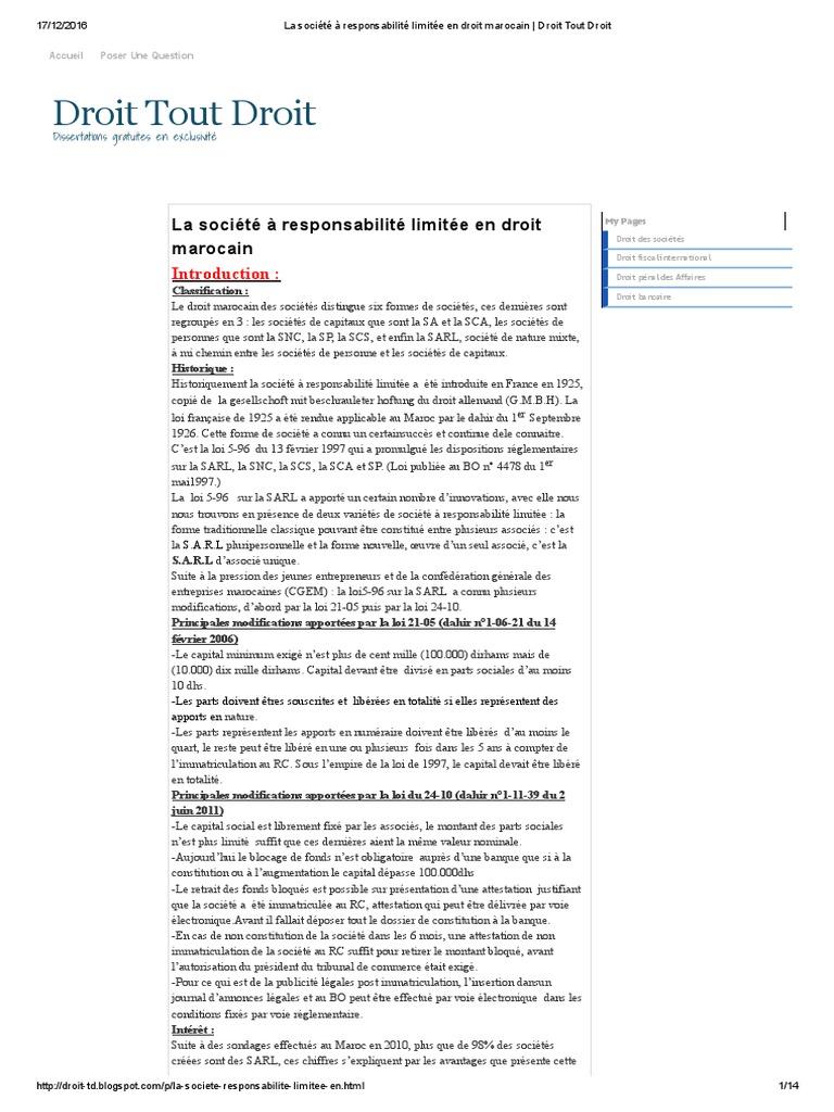 La Societe A Responsabilite Limitee En Droit Marocain