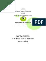 Informe del Ministerio del Interior sobre rapiñas y hurtos en 2016
