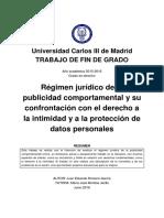 Régimen Jurídico de la Publicidad Comportamental y su confrontación con el Derecho a la Intimidad y a la Protección de los Datos Personales
