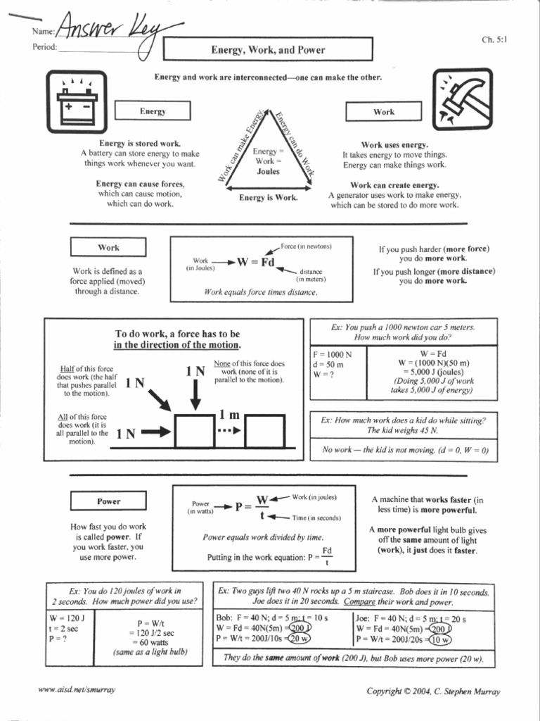 Worksheets Work Power And Energy Worksheet energy work power worksheet answer key