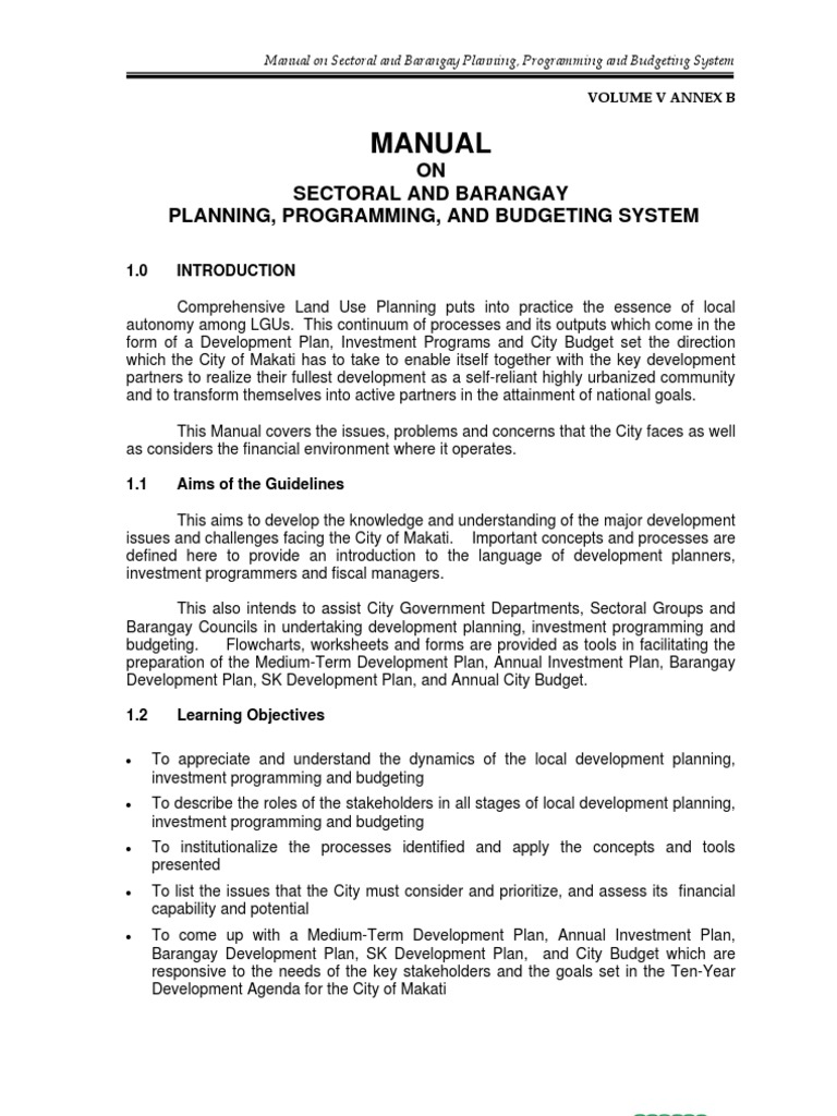 manual on sectoral and barangay planning  programming  and