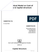 hypothetical Capital Structure and Cost of Capital of Mahindra Finance Services Ltd