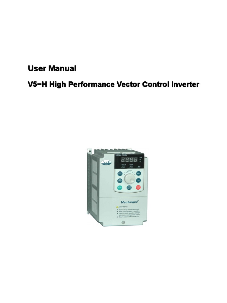VTdrive V5-H High Performance Vector Control Inverter User Manual | Power  Supply | Power Inverter