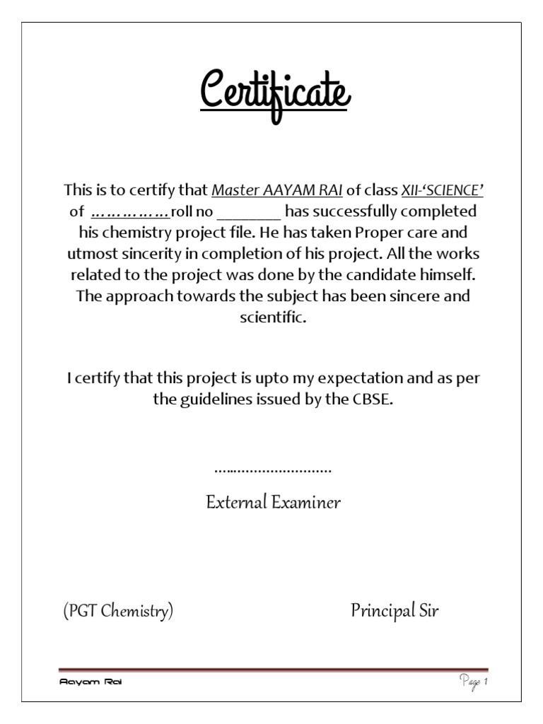 Sample certificate for school project idealstalist sample certificate yelopaper Gallery