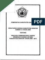 Perda Nomor 13 Tahun 2008 Tentang Rencana Pembangunan Jangka Menengah Daerah (RPJPD) Kabupaten Gianyar Tahun.pdf