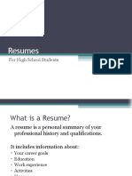 High School Resume Powerpoint