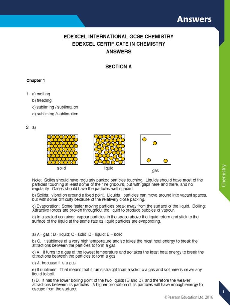 Edexcel IGCSE Chemistry Student Book Answers.pdf | Chemical Bond ...