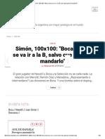 Simón, 100x100_ __Boca Nunca Se Va Ir a La B, Salvo Que Quieran Mandarlo_