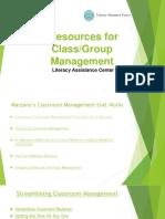Classroom Management Resources Presentation