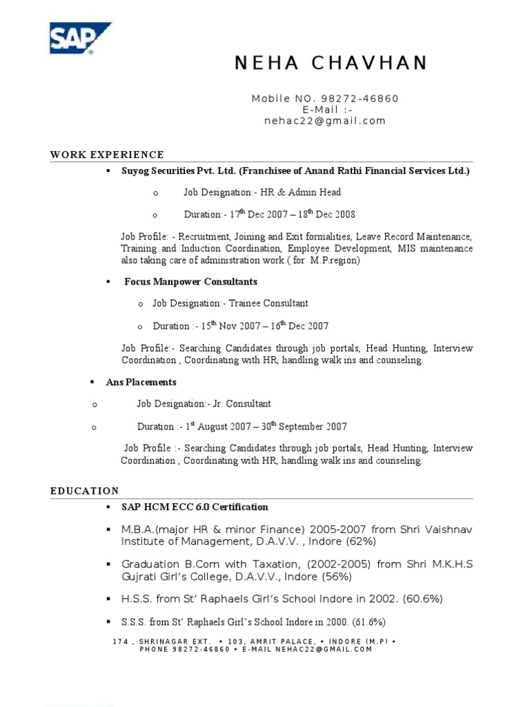 Neha Resume | Technology | Computing