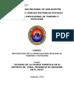 ESTUDIO DE LA OFERTA TURÍSTICA EN EL DISTRITO DE  YURA