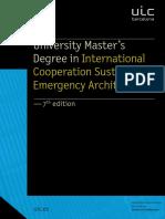 University Masters Degree in International Cooperation Sustainable Emergency Architecture