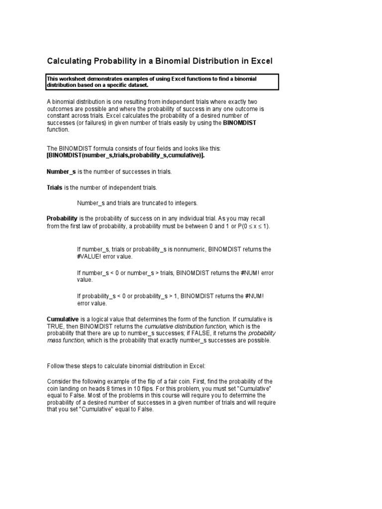 Tutorial Excel Binomial Dist | Probability Distribution