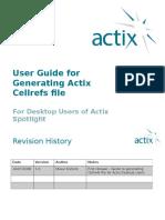 User Guide for Generating Actix Cellrefs