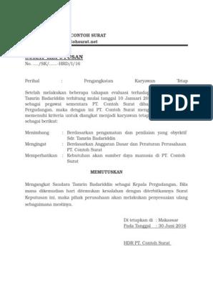 4 Download Contoh Surat Keputusan Sk Pengangkatan Pegawai