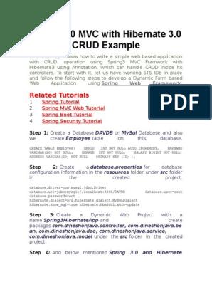 Spring 3 0 MVC With Hibernate 3 0 CRUD Example | Protocolo