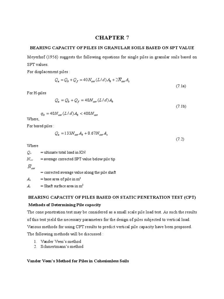 Bearing Capacity Of Piles In Granular Soils Based On Spt
