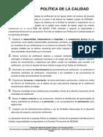 Extracto Politica de Calidad Del Manual Calidad Edicion 7