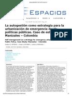 La autogestión como estrategia para la urbanización de emergencia desde políticas públicas. Caso de estudio